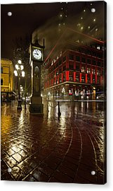 Gastown Steam Clock On A Rainy Night Vertical Acrylic Print
