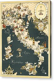 Gastronomic Map Of Italy 1949 Acrylic Print