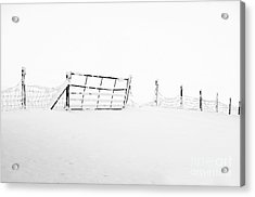 Gate In Snow Acrylic Print by Anne Gilbert