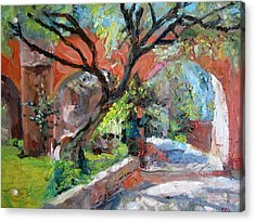 Acrylic Print featuring the painting Gate by Jiemin g Wang