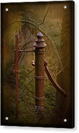 Gate Post Acrylic Print by Liz  Alderdice