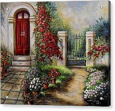 Gate To The Hidden Garden  Acrylic Print by Regina Femrite