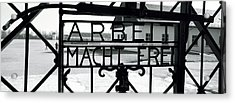 Gate With Inscription Arbeit Macht Acrylic Print by Panoramic Images