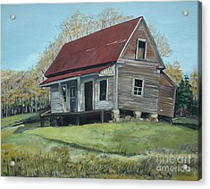 Acrylic Print featuring the painting Gates Chapel - Ellijay Ga - Old Homestead by Jan Dappen