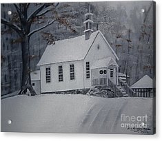 Acrylic Print featuring the painting Gates Chapel - Ellijay - Signed By Artist by Jan Dappen