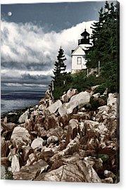 Gathering Coastal Storm In Maine Acrylic Print by Elaine Plesser
