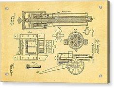 Gatling Machine Gun Patent Art 1862 Acrylic Print by Ian Monk