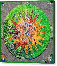 Gaudi Detail Green Acrylic Print