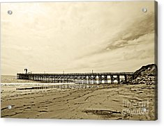Gaviota Pier In Morning Sepia Tone Acrylic Print by Artist and Photographer Laura Wrede