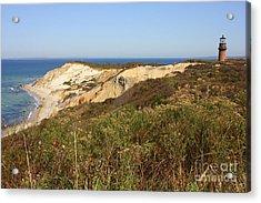 Gay Head Lighthouse With Aquinnah Beach Cliffs Acrylic Print by Carol Groenen