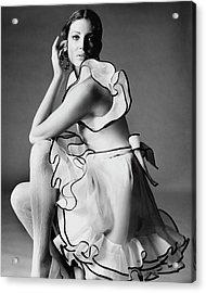 Gayle Hunnicutt Wearing A Oscar De La Renta Dress Acrylic Print by Bert Stern