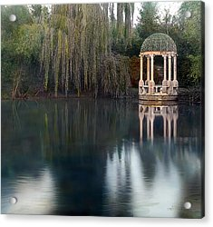 Gazebo And Lake Acrylic Print by Terry Reynoldson