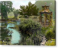 Gazebo And Pond Acrylic Print by Terry Reynoldson