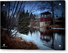 Gazebo By The Creek 01 Acrylic Print by Guy Hoffman