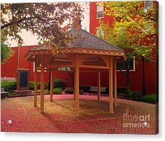 Acrylic Print featuring the photograph Gazebo In Pink by Becky Lupe