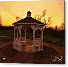 Acrylic Print featuring the photograph Gazebo In Sunset by Becky Lupe