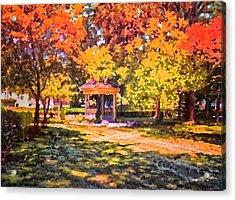 Gazebo On A Autumn Day Acrylic Print by Thomas Woolworth