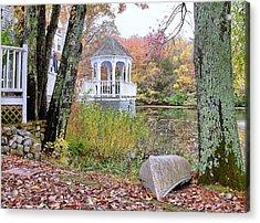 Gazebo On Pond -  Fall Scene Acrylic Print by Janice Drew