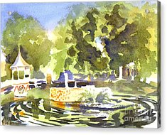 Gazebo With Pond And Fountain II Acrylic Print by Kip DeVore