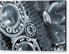Gears And Cogs Titanium And Steel Power Acrylic Print