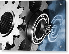 Gears And Cogwheels Reflection Acrylic Print