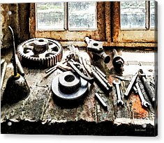 Gears And Wrenches In Machine Shop Acrylic Print by Susan Savad