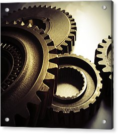 Gears Acrylic Print by Les Cunliffe