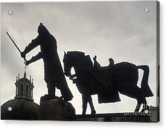Gediminas Statue In Vilnius At Sunset Acrylic Print