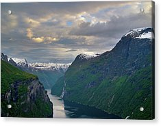 Geirangerfjord Sunset Acrylic Print by Benjamin Reed
