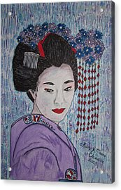Acrylic Print featuring the painting Geisha Girl by Kathy Marrs Chandler