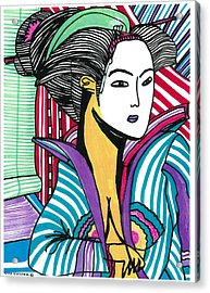 Geisha Green And Blue Acrylic Print