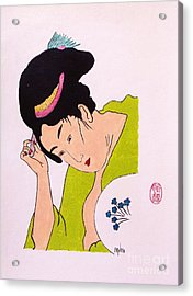 Geisha Hair Dressing Acrylic Print by Roberto Prusso