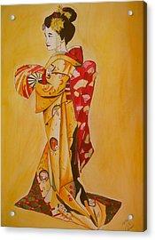 Geisha In Gold Kimono Acrylic Print by Sacha Grossel