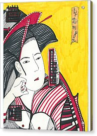 Geisha In Red And Black Acrylic Print