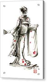 Geisha Japanese Woman Sumi-e Original Painting Art Print Acrylic Print by Mariusz Szmerdt