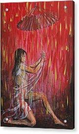 Geisha Rain Warrior Acrylic Print by Nik Helbig