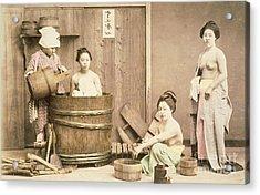 Geishas Bathing Acrylic Print by English School