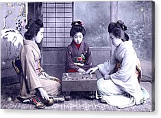 Geisha's Playing Game Acrylic Print by Unknown