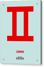 Gemini Zodiac Sign Red Acrylic Print