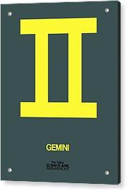 Gemini Zodiac Sign Yellow Acrylic Print by Naxart Studio