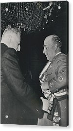 General Franco Decorated. Receives Garsnd Of The Omeyas - Acrylic Print by Retro Images Archive