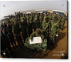 General Peter Pace Signs A Message Acrylic Print by Stocktrek Images