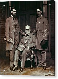 General Robert E. Lee And Staff  1865 Acrylic Print by Daniel Hagerman