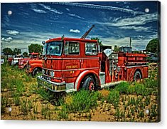 Acrylic Print featuring the photograph Generations Of Fire Fighting Equipment by Ken Smith