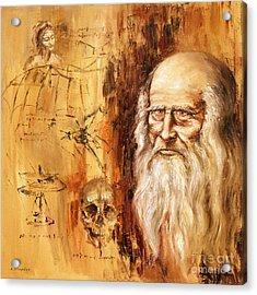 Acrylic Print featuring the painting Genius   Leonardo Da Vinci by Arturas Slapsys
