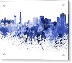 Genoa Skyline In Blue Watercolor On White Background Acrylic Print by Pablo Romero