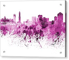 Genoa Skyline In Pink Watercolor On White Background Acrylic Print by Pablo Romero