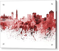 Genoa Skyline In Red Watercolor On White Background Acrylic Print by Pablo Romero