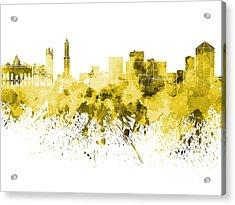 Genoa Skyline In Yellow Watercolor On White Background Acrylic Print by Pablo Romero