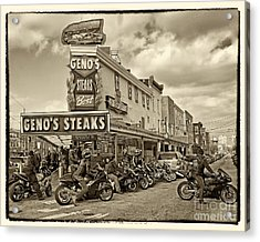 Geno's With Cycles Acrylic Print by Jack Paolini